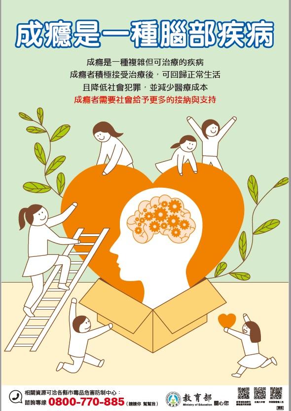 教育部「成癮是一種腦部疾病」文宣海報